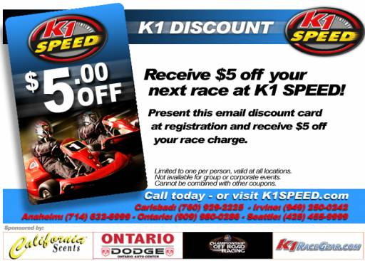 K1 discount coupons